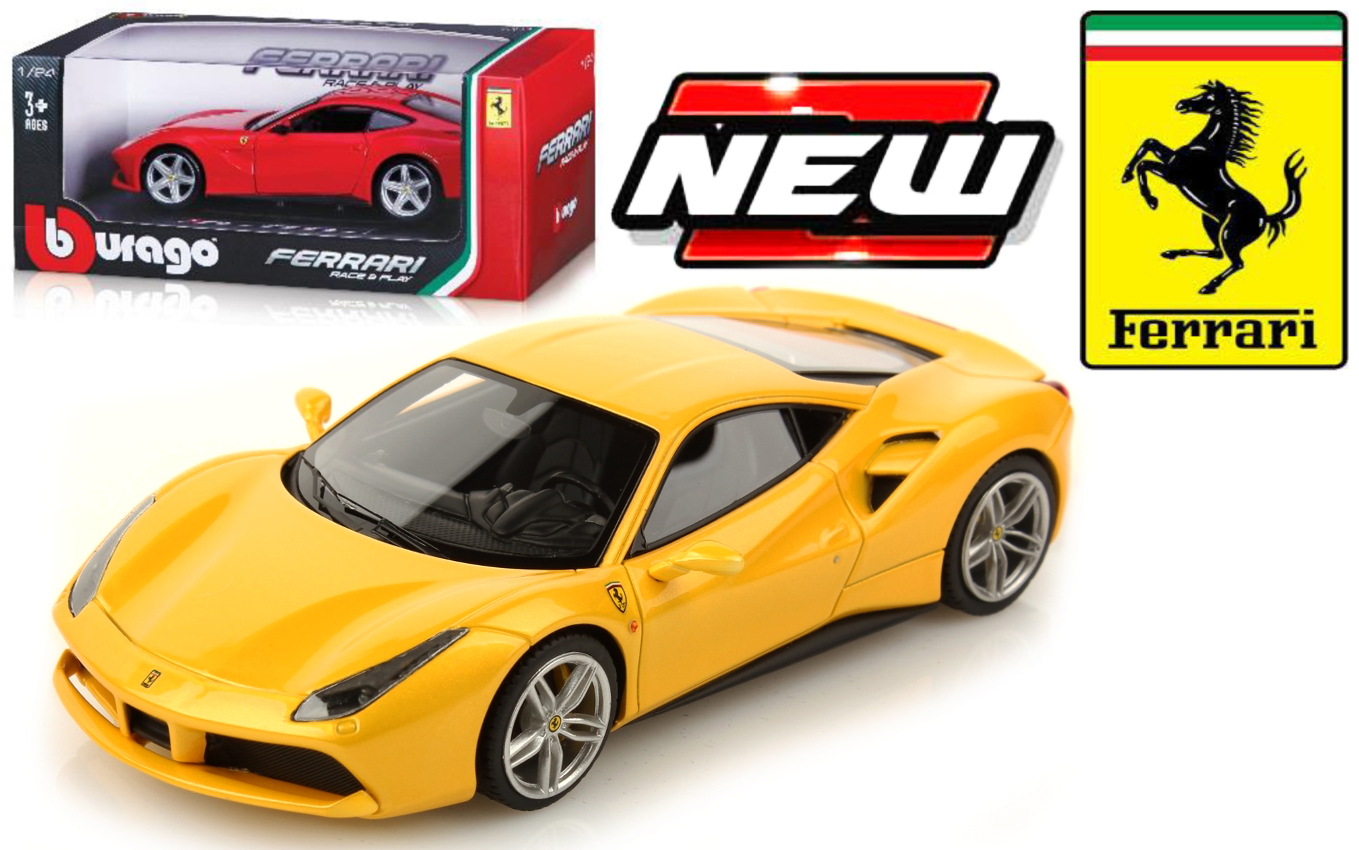 26013  Ferrari 488 GTB, geel, Bburago