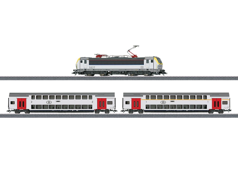 29474 : het treinstel met de Vectron lok HLE 18 en de 2 dubbeldek personenrijtuigen in deze basisdoos.