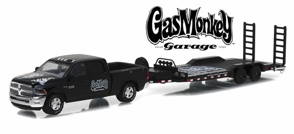 "32080  2016 Dodge Ram + aanhangwagen ""Gas Monkey"", Greenlight"