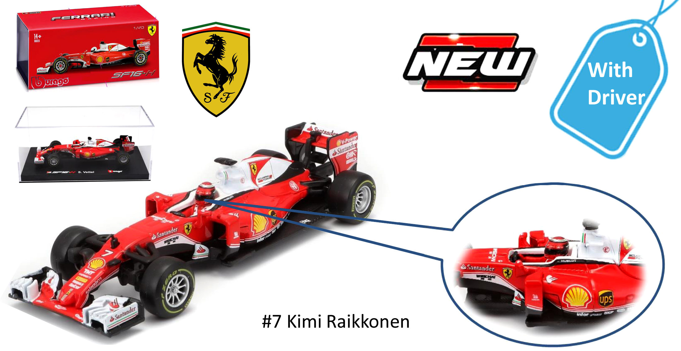 """36804  Ferrari SF16-H F1 """"Vettel/Raikönen, Bburago"""