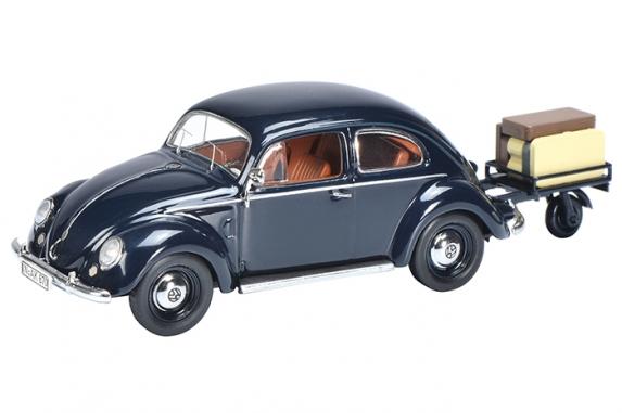 450389400  VW Käfer met aanhangwagen, blauw, Schuco