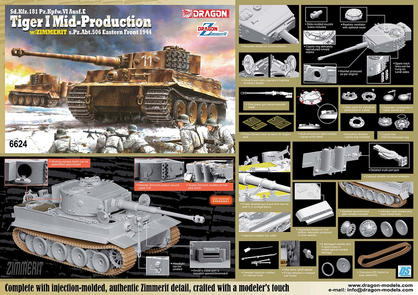 "6624    Sd.Kfz.181 Pz.Kpfw.VI Ausf.E ""Tiger I Mid-Production + Zimmerit S.Pz.Abt.506 Eastern Front 1944, Dragon, Schaal 1/35"