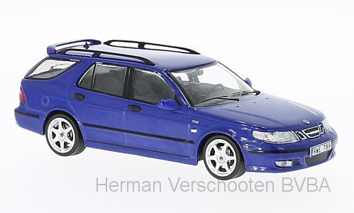 PRD514  Saab 9-5 Sport Combi Aero 2002, met. blauw, PremiumX