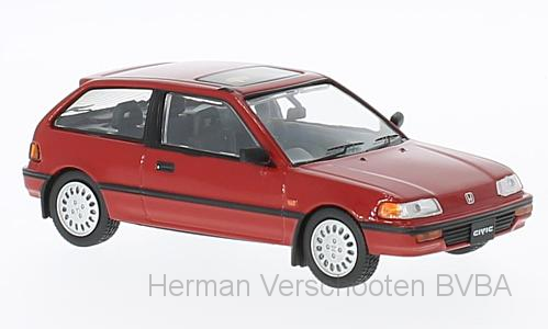 F43-042    Honda Civic 1987, rood, First 1:43 Models