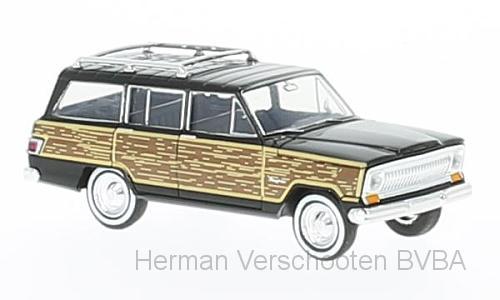 """19855  Jeep Wagoneer zwart """"woody"""", Brekina"""