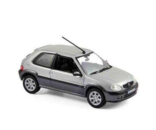 155157  Citroën Saxo VTS 2001, Orageux Grijs & Quartz Grijs, Norev