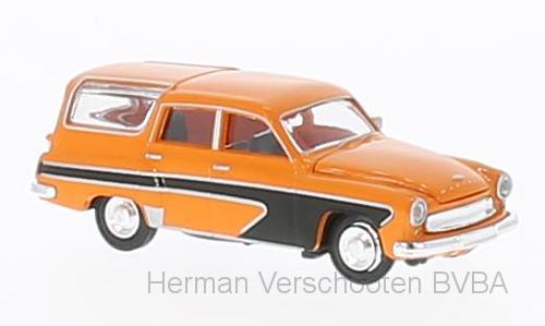 27116  Wartburg 311 Camping orange/zwart, Brekina