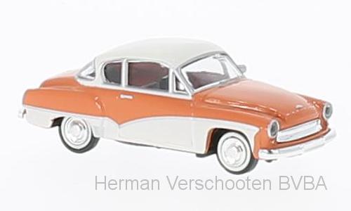 27155  Wartburg 311 Coupe, zalmrood/wit, Brekina