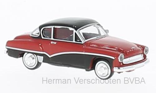 27157  Wartburg 311 Coupe, rood/zwart, Brekina