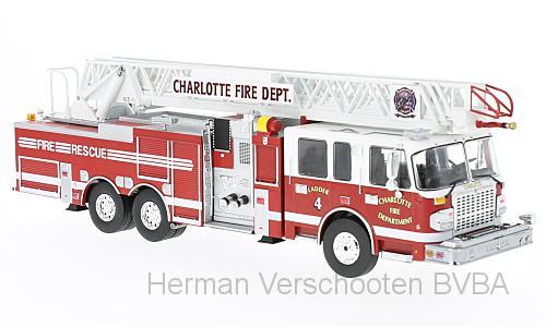 "TRF001  SMEAL 105"" Aerial Ladder US Firetruck 2014, Charlotte, PremiumX"