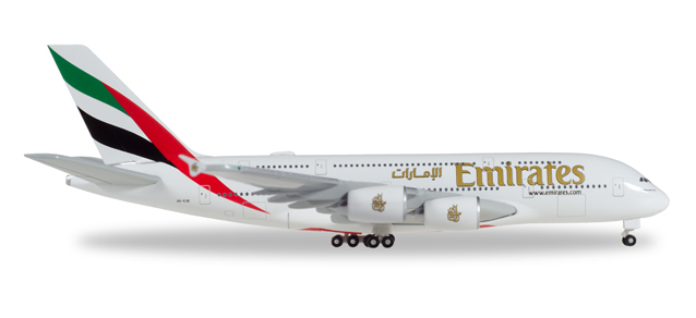 """514521-004  Airbus A380-800 """"Emirates (A-EUK)"""", Herpa Wings"""