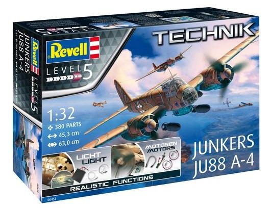 """0452  Junkers JU88 A-4 """"Technik"""", Revell    De Ju88 was een van de standaard gevechtsvliegtuigen van de Luftwaffe in de Tweede Wereldoorlog. De A-4 versie is de meest gebouwde en wordt gekenmerkt door een grotere spanwijdte en een krachtigere afweerbewapening.  Inbegrepen in deze bouwdoos:  - Individueel op deze kit afgestemde en direct bruikbare elektronicacomponenten met handige stekkerverbindingen.  - LED's voor positie-, landingslichten en cockpitverlichting.  - Elektromotoren voor de beide propellers.  - Voorgeprogrammeerde besturingsunit voor weergave van realistische startsequentie.  - Batterijbox (4x 1,5V AA-baterijen, niet inbegrepen).  - Plastic modelbouwkit voor een Junkers Ju88 A-4 met vele details.  - Decals voor 2 versies van de Luftwaffe."""