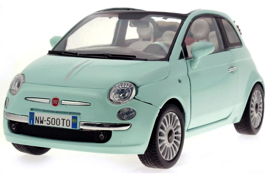 79164G  Fiat Nuova 500 Cabriolet, lichtblauw, Motor Max