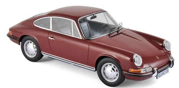 187630 Porsche 911 T 1969, donkerrood, Norev