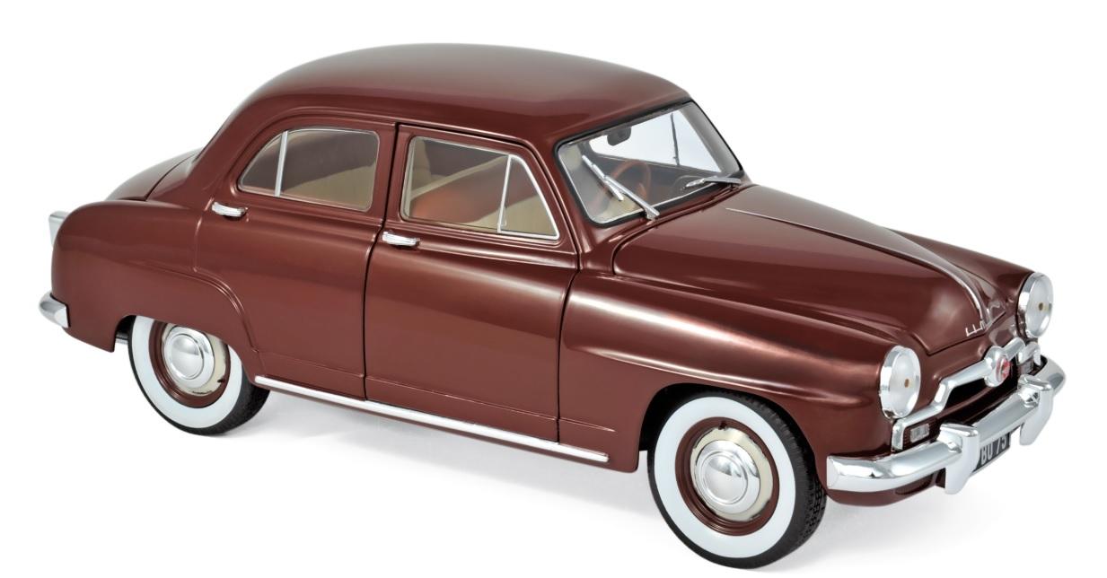 185742 Simca 9 Aronde 1953, Amarante rood, Norev