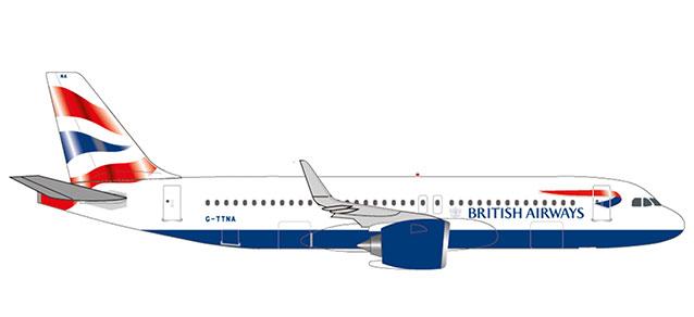 """532808 Airbus A320neo """"British Airways"""", Herpa Wings"""