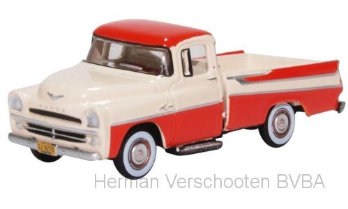 87DP57001 Dodge D100 Sweptside Pick up 1957, rood/wit, Oxford