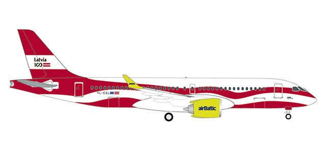 "533171 Airbus A220-300 ""Air Baltic Latvia 100"", Herpa Wings"
