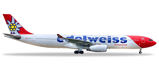 """558129-001 Airbus A330-300 """"Edelweiss Air (HB-JHQ)"""", Herpa Wings"""