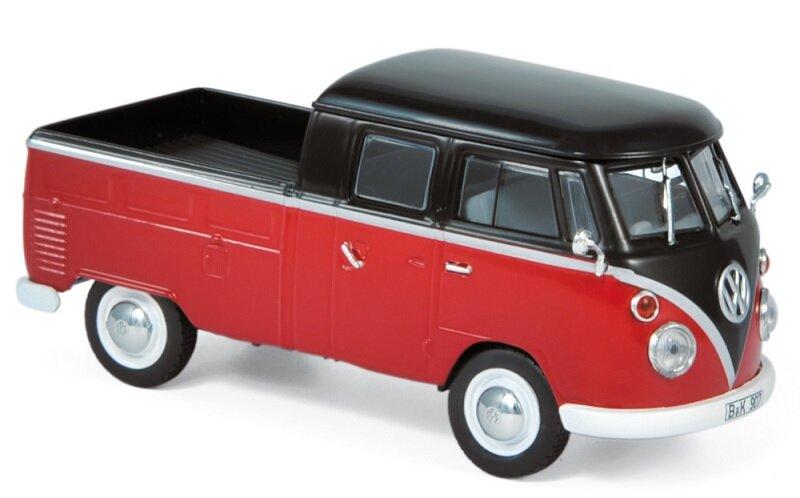 840218 Volkswagen T1 Dubbele cabine 1961, rood/zwart, Norev