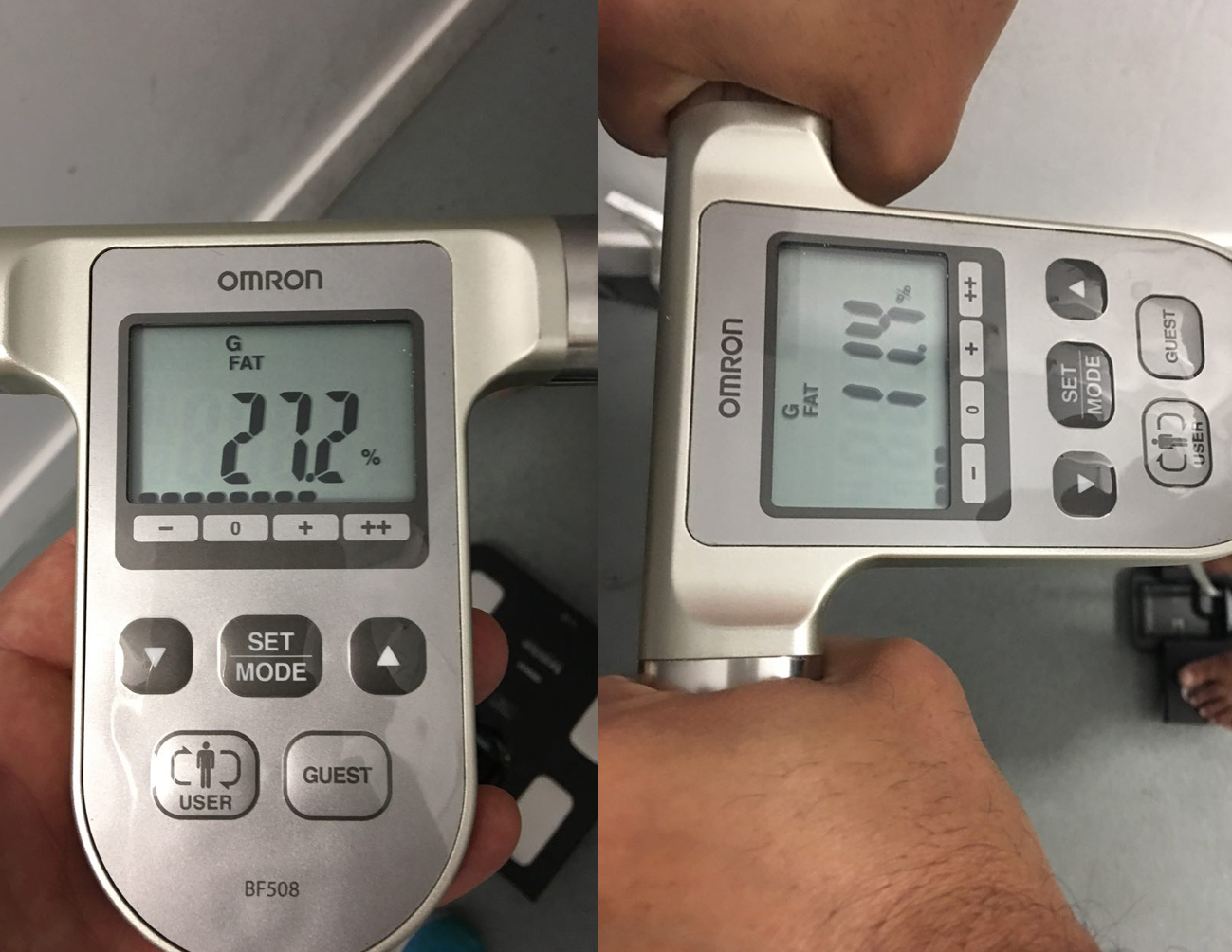 Before and after body fat percentage estimate (BIA)