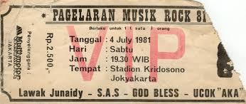 Sebuah karcis pertunjukan musik rock di stadiun Kridosono Jogjakarta, dengan selingan lawak kondang Junaedi. 1981.