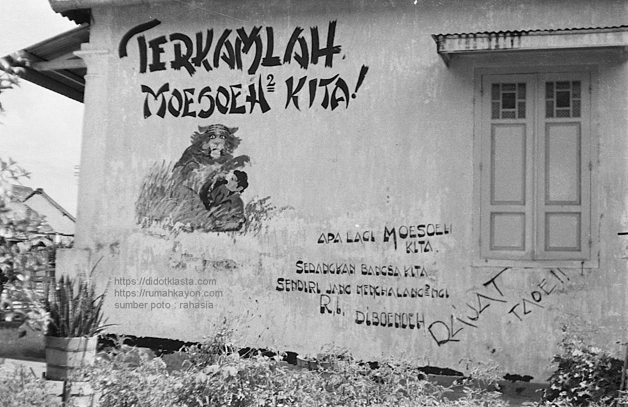 Grafiti revolusi kemerdekaan di tembok sebuah rumah di Salatiga masa Agresi Militer Belanda I. 1947.
