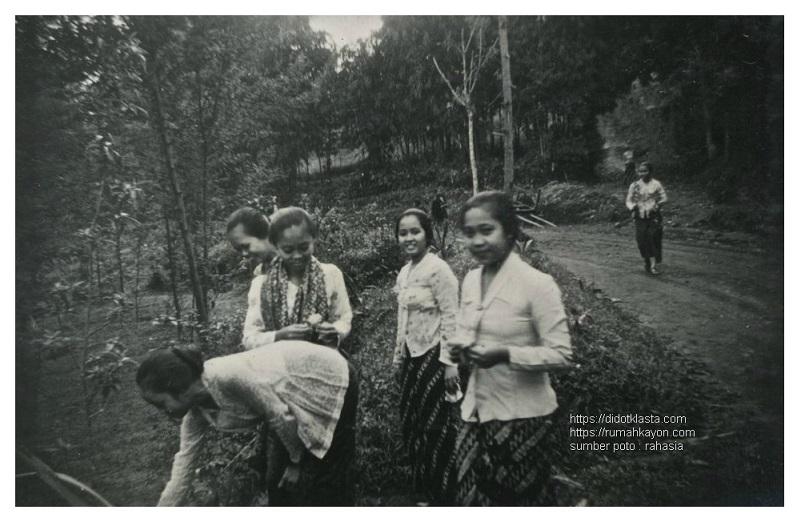 Perempuan-perempuan siswa sekolah (?) ketrampilan rumahtangga di Jogjakarta sedang berwisata di Kopeng lereng Gunung Merbabu dekat Salatiga. ca 1935.