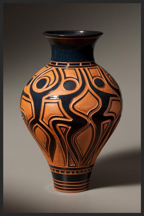 Vase with Dancers in Black