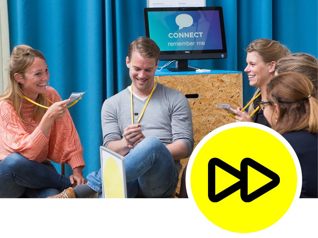 1. Touchpoints for connection - Een heldere aanpak met duidelijke stappen helpt mensen om drempels te overwinnen. Je gaat je niet zomaar in een groepje voorstellen aan 10 anderen, maar als dit een opdracht is waar iedereen aan meedoet en de tijd wordt bijgehouden met een zandlopertje, gaat het ineens vanzelf.