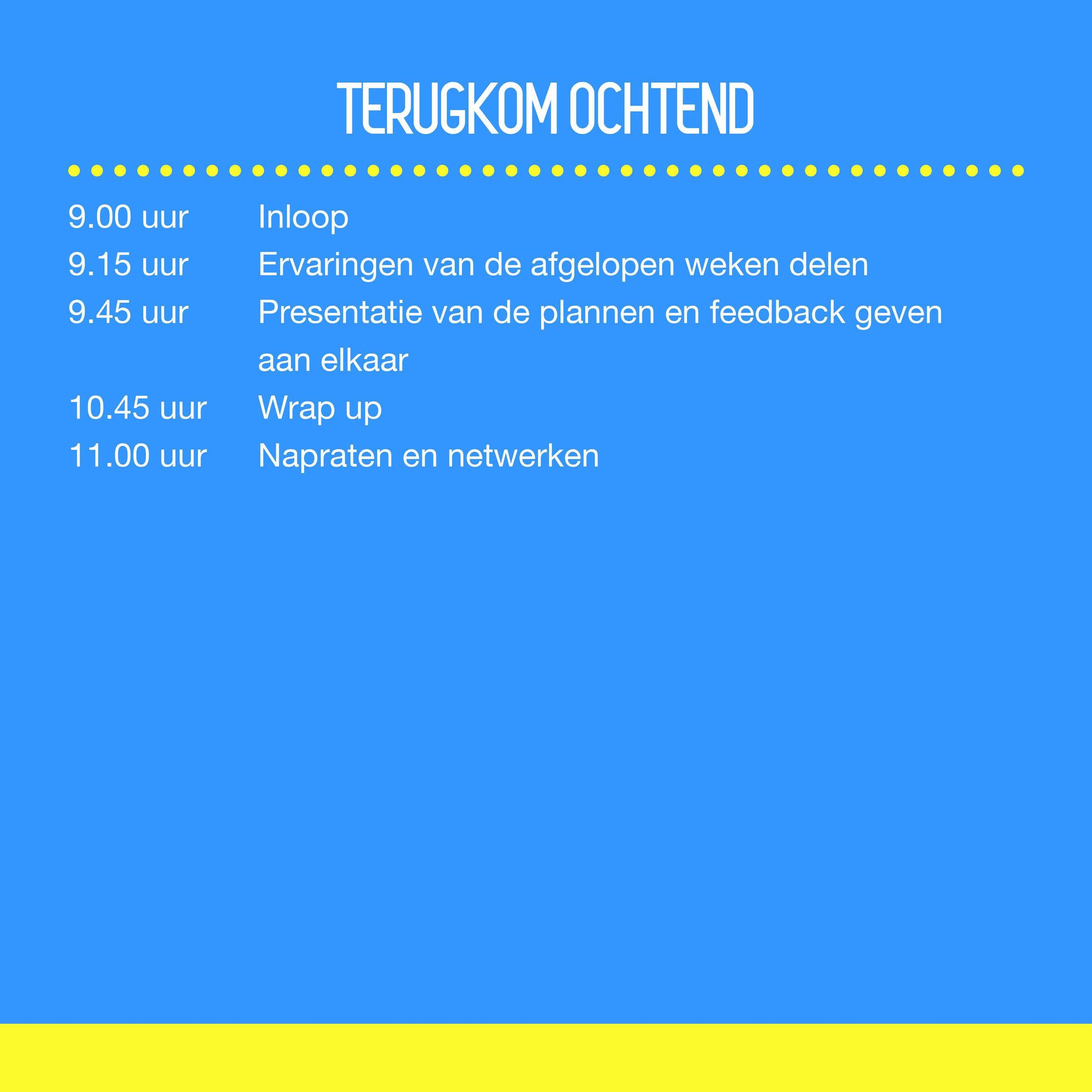 Terugkom ochtend   09.00 uur Inloop 09.15 uur Ervaringen van de afgelopen weken delen 09.45 uur Presentatie van de plannen EN Feedback geven aan elkaar 10.45 uur Wrap up 11.00 uur Napraten en netwerken