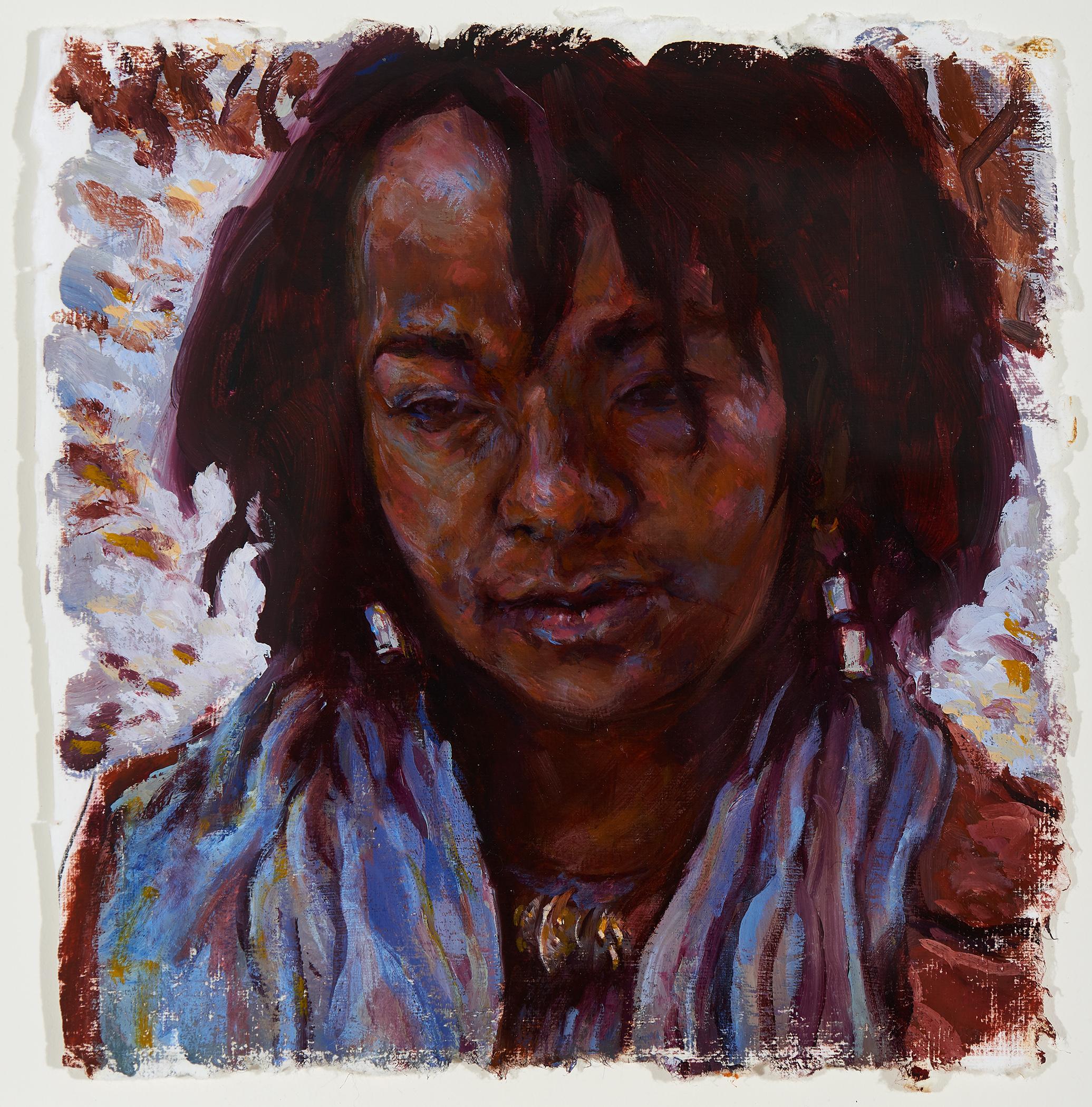 Portrait of Jameela  2019, oil on paper, 8 x 8in.