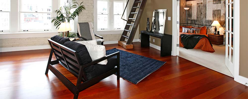 Loft with blue area rug