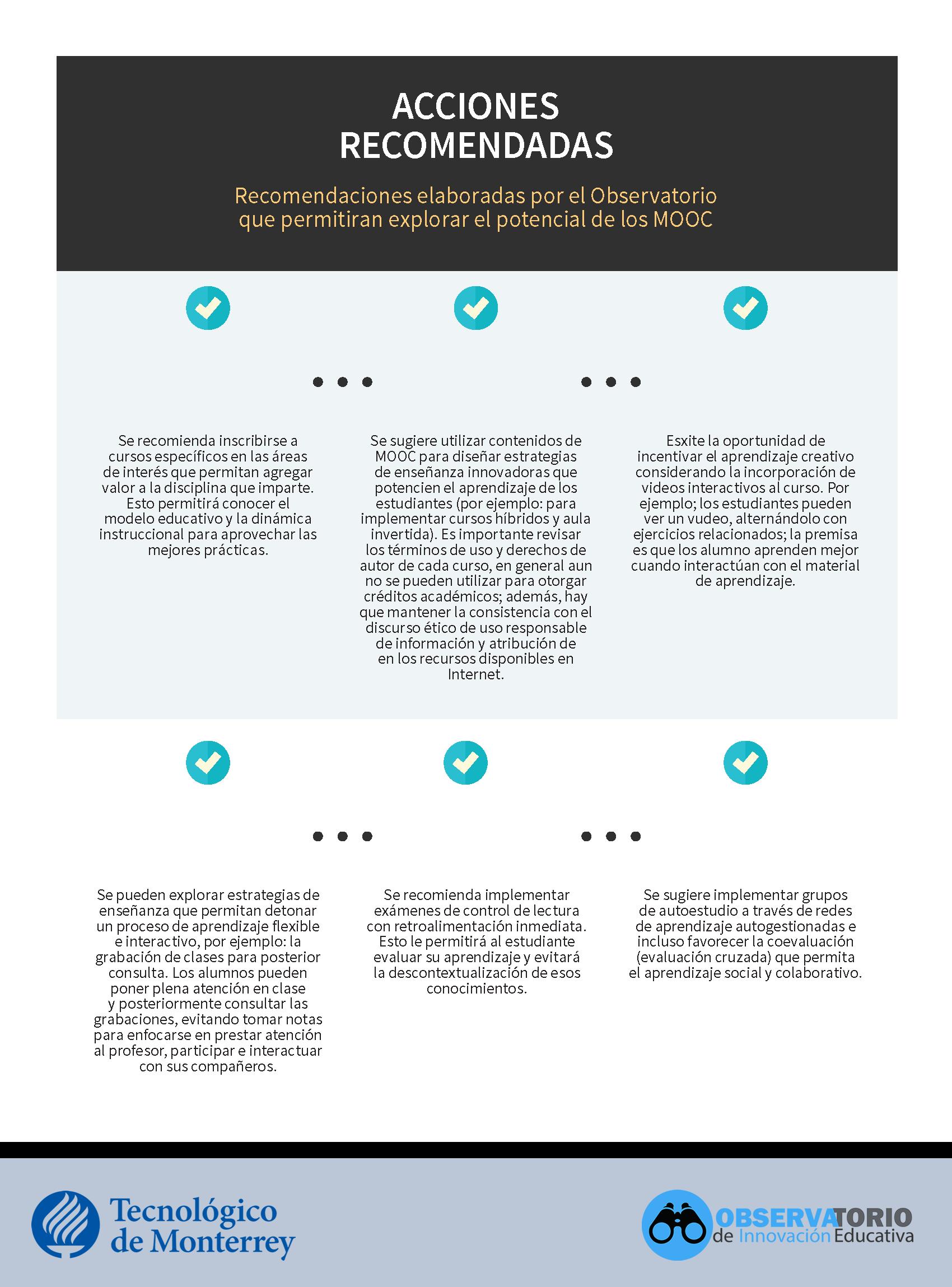 Acciones recomendadas MOOCs