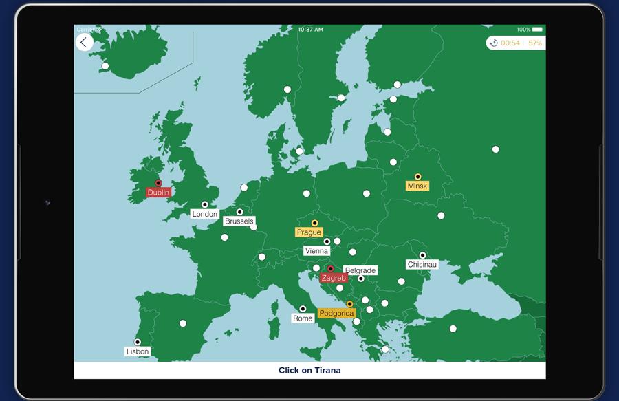 Seterra es una aplicación para móviles y computadoras de escritorio que ayuda a los docentes a impartir el conocimiento de ubicaciones y nombres de ciudades, regiones, continentes, países, ríos, lagos, mares, océanos y hasta planetas del sistema solar. - Imagen: Seterra