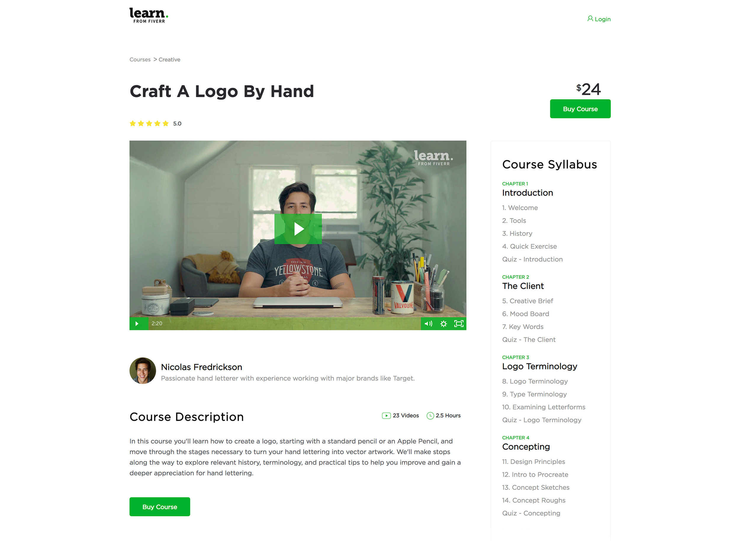 Ejemplo de curso en Learn from Fiverr