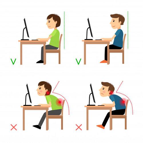 Ejemplos de posturas correctas e incorrectas. Freepik/ ssstocker .