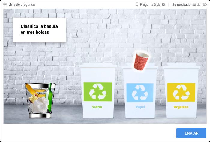 Imagen 3: Cuestionario sobre clasificación y reciclaje de residuos.