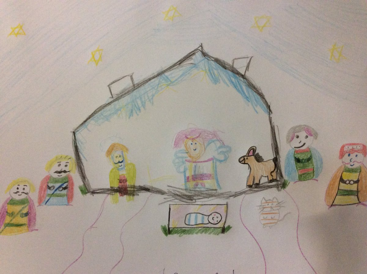 The children share the story of Christmas at home with their family and they can reflect on it in their own way e.g. by drawing a picture or writing a prayer.