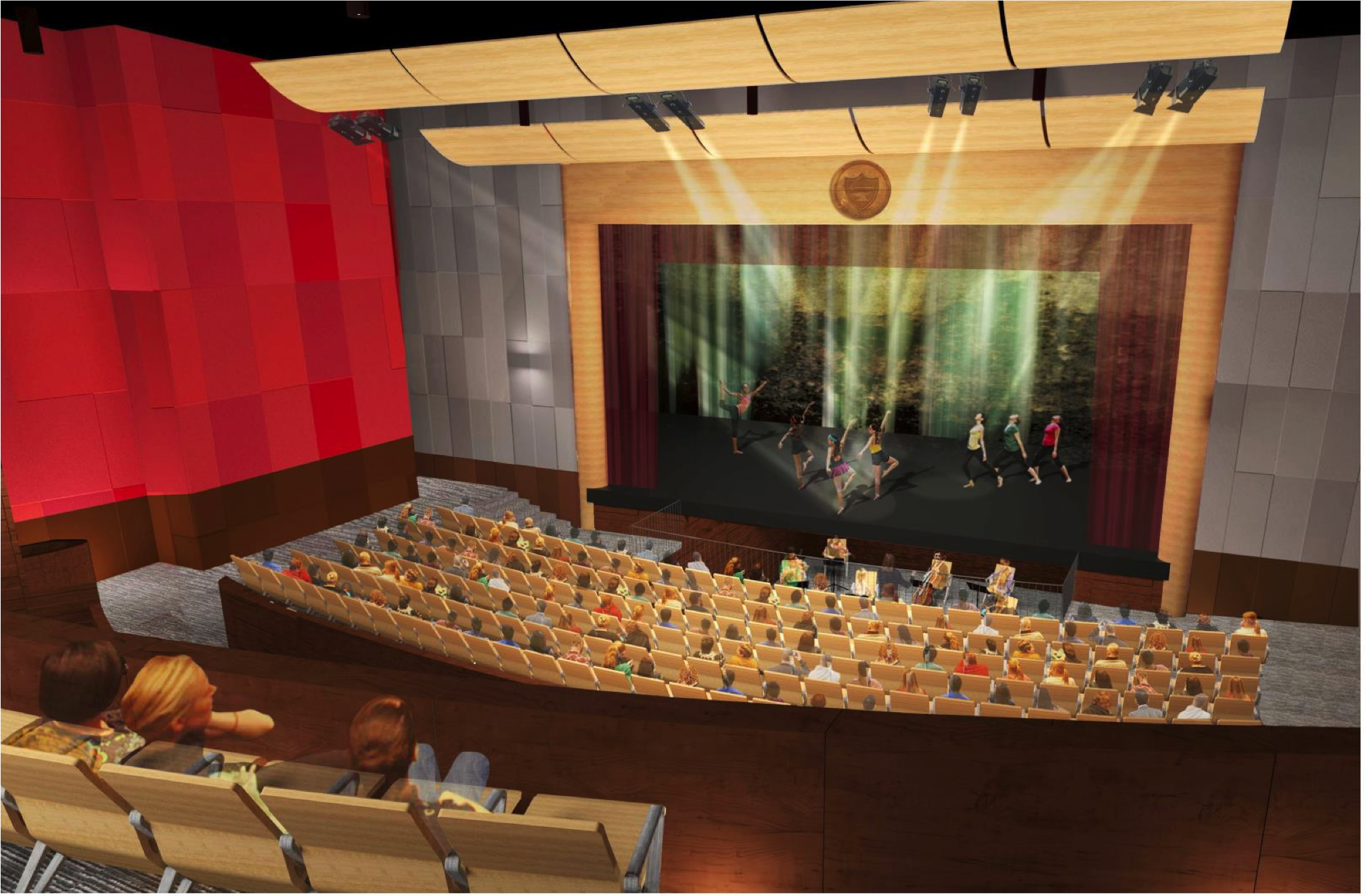 A rendering of the view from the balcony in the Main Stage Theatre