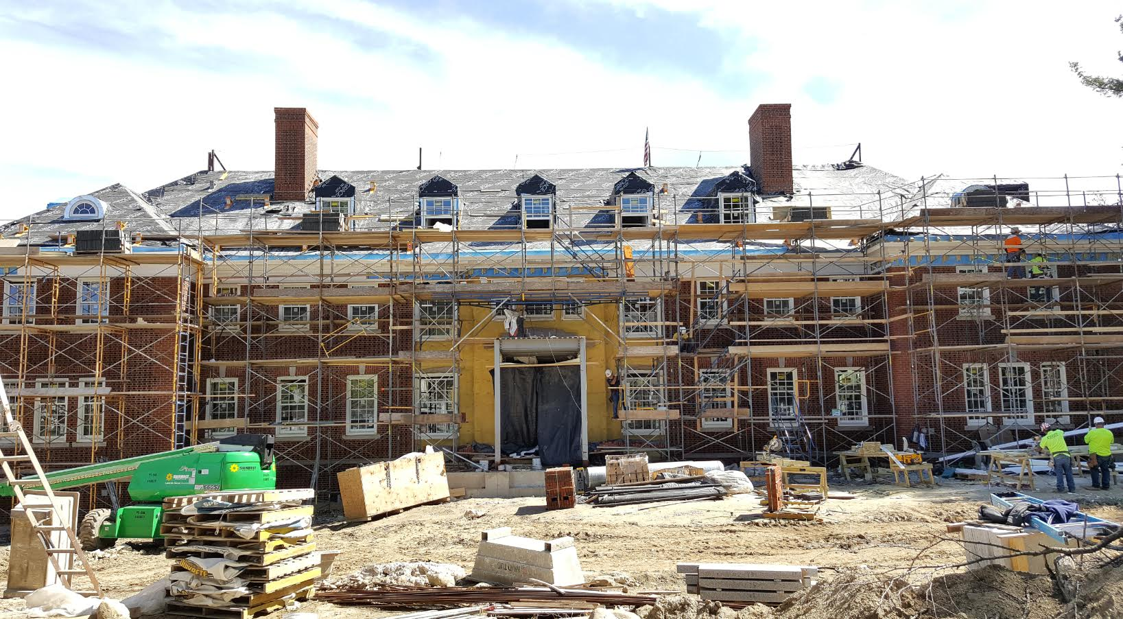 Landry House, nearing the completion of the bricking process, in early May 2016.
