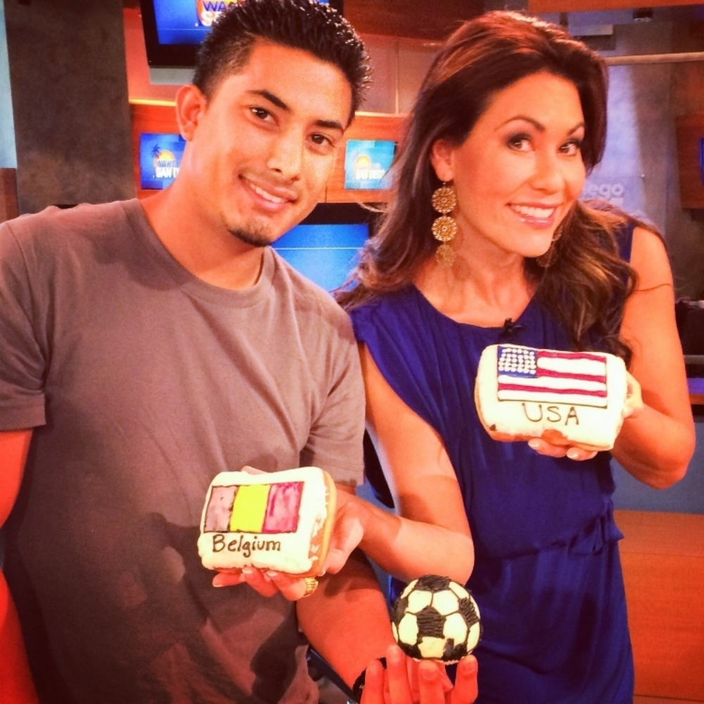 Alex from the #donutbar came by with World Cup donuts! Thanks, Donut Bar!