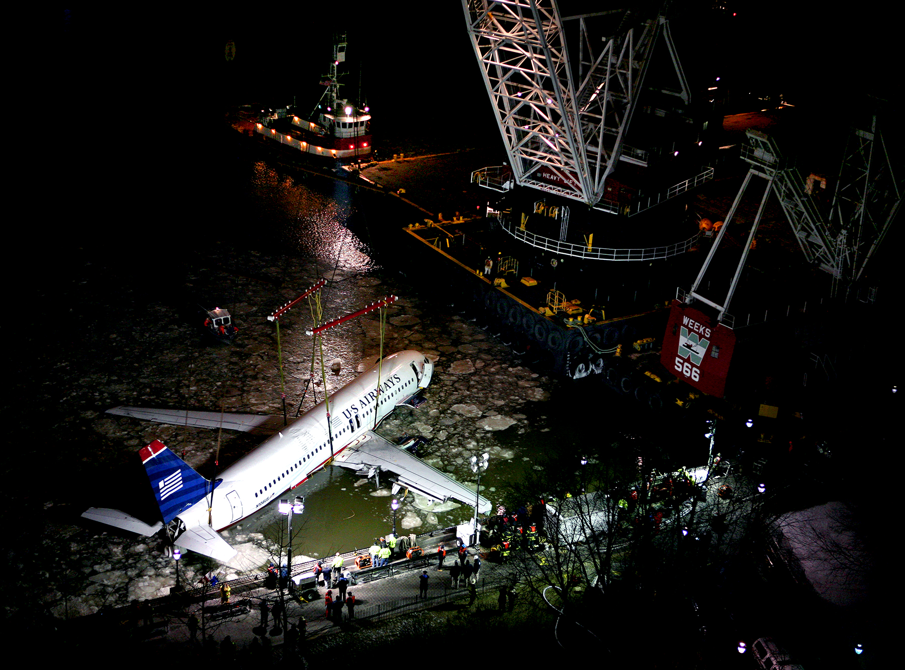 "USAir flight 1549, dubbed ""Miracle on the Hudson,"" pulled from icy river, 2009"