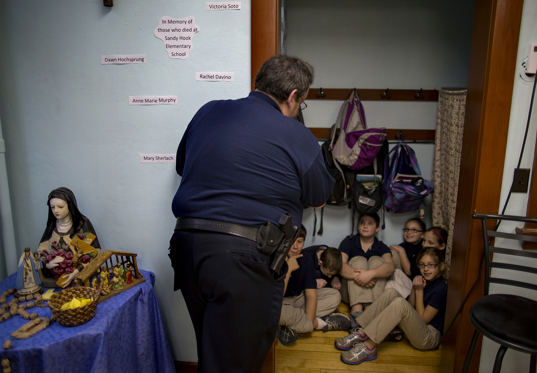 Lockdown drill in wake of Sandy Hook massacre, Ohio, USA 2013