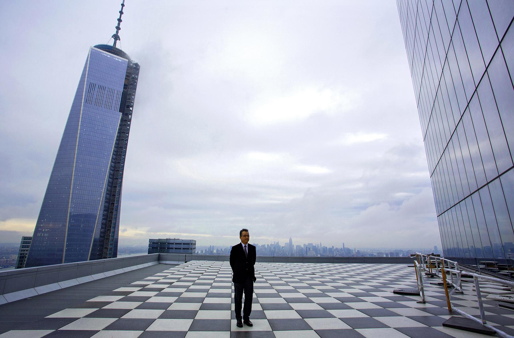Architect Osamu Sassa stands on 4 World Trade Center's 57th floor, 2013