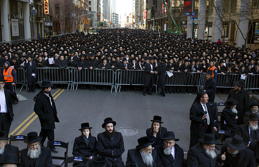 Ultra Orthodox protest Israeli proposal to draft strictly religious citizens, New York, 2014