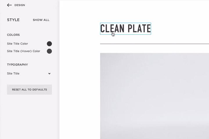 Accès aux options de configuration du design avec choix des couleurs, des tailles et des polices pour tous les éléments du site