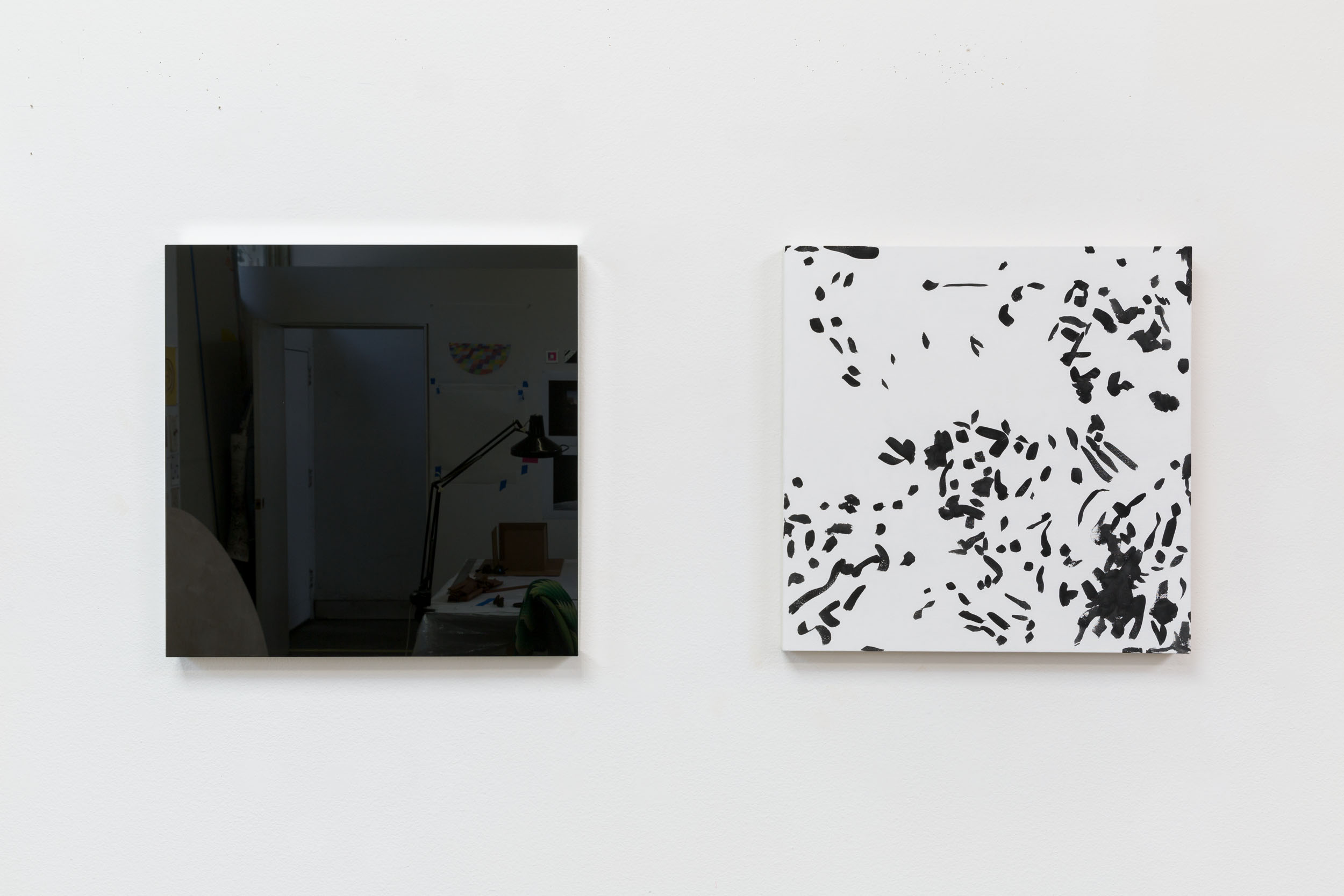 la Mère and le Père, 2016, black and silver mirror mounted on wood panel, and Flashe vinyl paint on canvas,  24 x 24 inches each