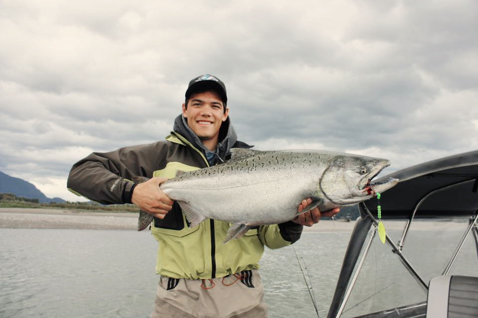 Chinook/King Salmon on a custom made Cascade Spinner available for sale from Bent Rods Custom Tackle.
