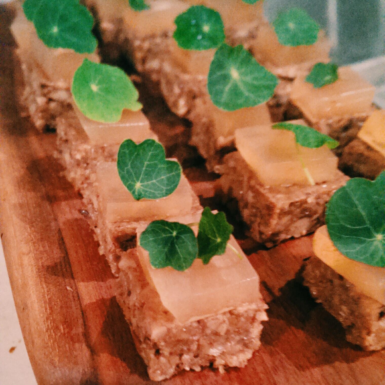 Vegan Mushroom Pate / Smoked Apple Gel / Nasturtium